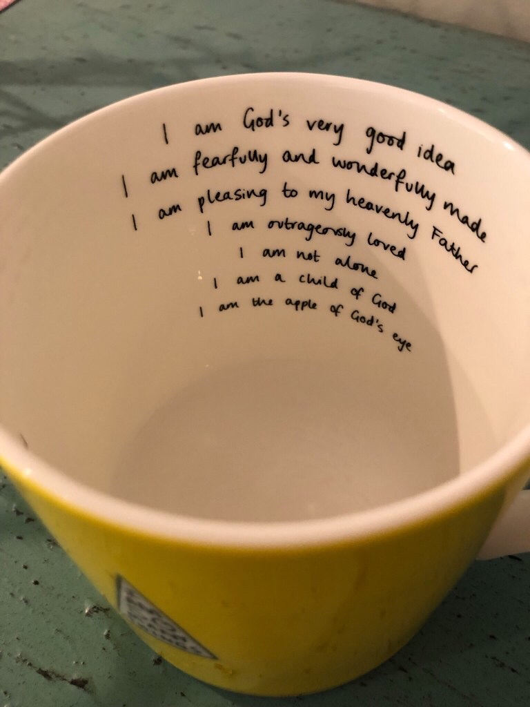 Christian mug with beautiful affirmations from the shop I Am So Many Things